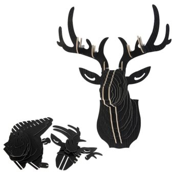 3D Puzzle Wooden DIY Model Wall Hanging deer Head wood gift craft Home decoration Black Price Philippines