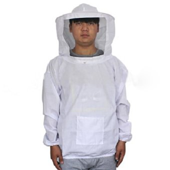 Harga Beekeeping Jacket and Veil Bee Smock Equip Professional Protective Suit Beekeeper Workwear Safety Clothing White (Intl)