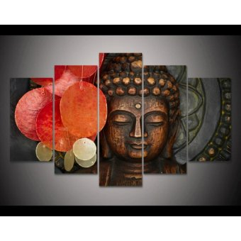 Modern home decoration Buddha Painting 5 Panel Unframed Wall Art Print Pictures For Room decor Unique Gift - intl Price Philippines
