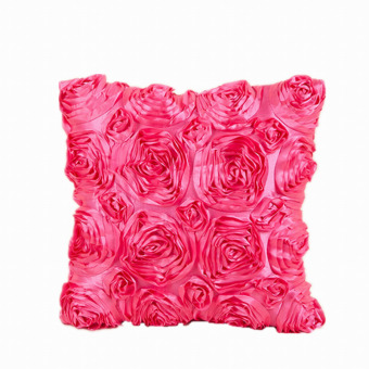 Harga EOZY 40*40cm Creative Rose Flower Design Satin Square Throw Pillow Covers Home Decor Pillowcase Solid Color Cushion Cover (Rose Red) - intl
