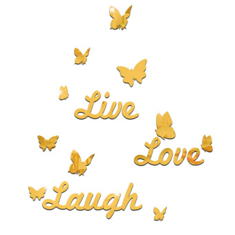 Hequ LIVE LAUGH LOVE Mirror Wall Quote Stickers Butterflies Vinyl Decal Home Art Wall Stickers Gold - Intl Price Philippines