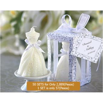 Harga 50pcs Wedding Dress Candle Favor Gifts Party Favor For Guest Wedding Souvenirs Birthday Gifts souvenirs souvenir