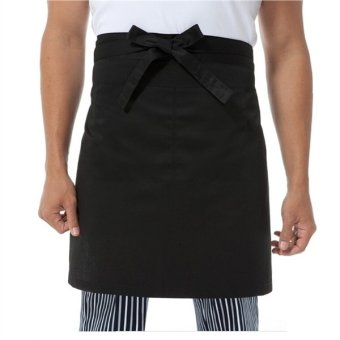 TINKSKY Unisex Kitchen Cooking Waist Apron Short Apron Waiter Apron with Double Pockets (Black) Price Philippines