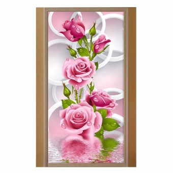 Harga Needlework 5D Diy Diamond Painting Cross Stitch Pink Rose Diamond Embroidery Flower Vertical Print Rubik's Cube Drill Picture