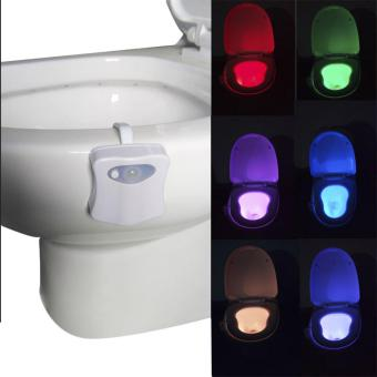 Harga Motion Activated / Light Sensitive Automatic LED Toilet Nightlight Motion Sensor Bathroom Lamp For Any Toilet - intl