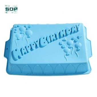 Harga SDP Big rectangle happy birthday silicone cake mold bakeware form for cake bakery kitchen accessories bake Tools - intl