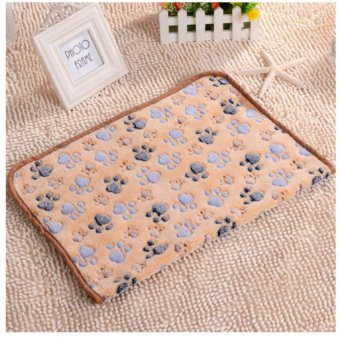 Harga Warm Pet Mat Paw Print Cat Dog Puppy Fleece Soft Blanket Bed Cushion Brown XS