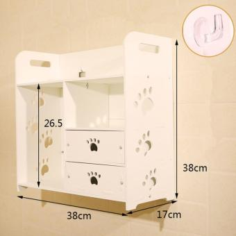 Candy Online Waterproof Wood-Plastic Board Wall Mounted Bathroom Storage Rack Dresser Drawer Storage Cabinet Free Hook #9003 (White) Price Philippines