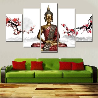 5 Panel Buddha Statue Canvas Wall Painting Modern Home Decoration Wall Art Gift (No Frame) - Intl Price Philippines