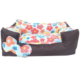 Harga Pet Depot Bright Flowers Small Dog Bed (Blue)