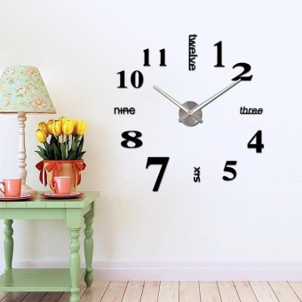 Luxury Large Size 3D Mirror Surface Creative Modern Home Decoration Art Clock DIY Wall Clock Watches Hours Wall Sticker - intl Price Philippines