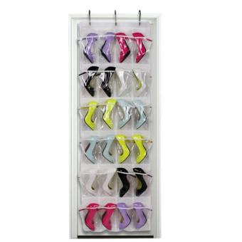 Clear Collection 24-Pocket Over The Door Shoe Organizer Storage Hanging Bag White - intl Price Philippines