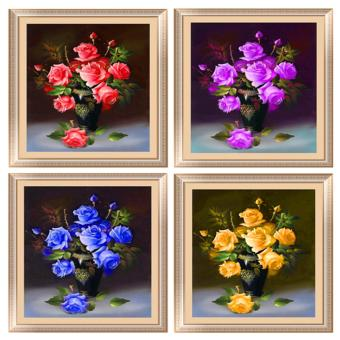 Harga Candy Online 4-Color Roses DIY 5D Diamond Painting Cross Stitch Full Drill Rhinestone Painting Decor (K035+K036+K037+K038)