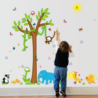 Cartoon Animal Tree Flowers Elephant Butterflies Monkey Panda Grass Wall Decal Home Sticker PVC Murals Paper House Decoration Wallpaper Living Room Bedroom Art Picture for Kids Teen Senior Adult Baby - intl Price Philippines