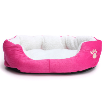 Harga Pet Dog Puppy Cat Bed House Nest Mat Pad Cozy Soft Warm Fleece Rose Red - intl