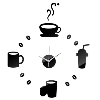 DIY Coffee Cups Acrylic Wall Sticker Clock Home Decoration Black Price Philippines