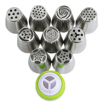 Harga Eozy 9pcs Stainless Steel Russian Pastry Nozzles Fondant Icing Piping Cake Decorating Tips Rose Tulip Shaped Fondant Cupcake Buttercream Baking Tool
