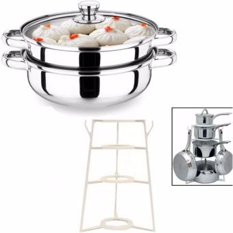 Harga Pantree Pots and Pans Organizer (White)With Stainless Steel Double Soup Steaming Two Pot 28cm