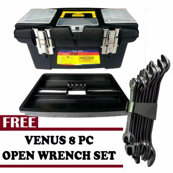 Harga Prostar Durable 14 Inch Tool Box (Black)with Free Venus 8 pcs Open Wrench