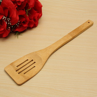 Harga FRD Natural Health Bamboo Cooking Utensil Slotted Spoon Spatula Holderkitchen Tools Bamboo Shovel Three Lines - intl