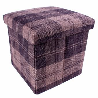 Harga Wallmark Linen Fabric Checkered Ottoman Storage Box Chairs (Cinnamon)