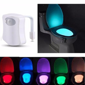 Harga Durable 8 Color Body Sensing Automatic LED Motion Sensor Toilet Bowl Night Light - intl