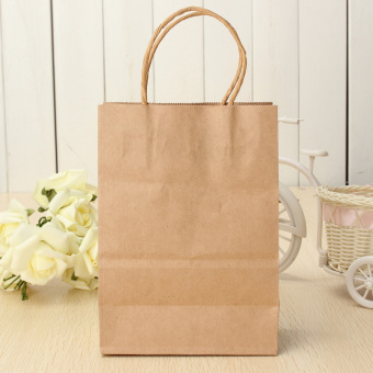 Harga 10pcs Kraft Brown Twisted Handle Shopping Gift Merchandise Paper Carrier Retail Bags Small Size
