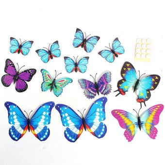 3D Butterfly Sticker Art Creative Butterflie Design Decal Wall Stickers Home Decor Room Wall Sticker Decorations(Blue) Price Philippines