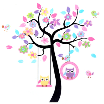 [Saturday Monopoly] diy home decor large owls tree wall stickers for kids rooms nursery decoration art murals pvc children decal Price Philippines