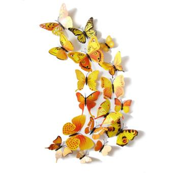 12PCS 3D PVC Magnet Butterflies DIY Wall Sticker Home Decor Yellow Price Philippines
