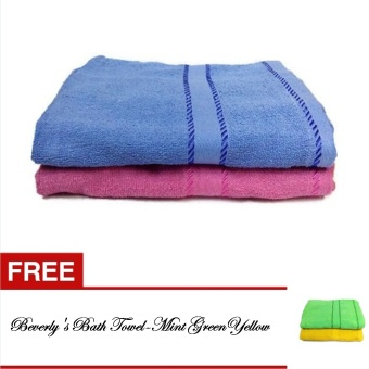 Harga Beverly's Bath Towel Collection-(Blue/Pink) with Free Beverly's Bath Towel Collection-(Mint Green/Yellow)