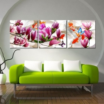 Harga 40x40cm Unframed 3 Piece Canvas Art Magnolia Print HD Wall Pictures for Living Room Painting Nordic Art Home Decor - intl