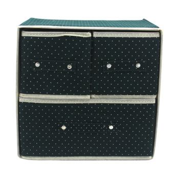 Harga Foldable Woven Clothing Storage Box (Dotted Green)