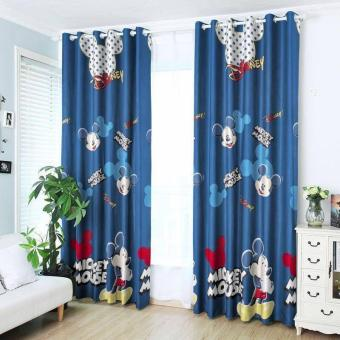 Harga StevenShop 2pcs Animated Mickey Mouse Design Curtain with round rigs