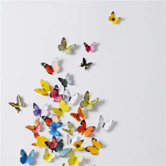 3D Wall Stickers Wall Decals 19 Pcs Colorful Butterflies PVC Wall Stickers Price Philippines