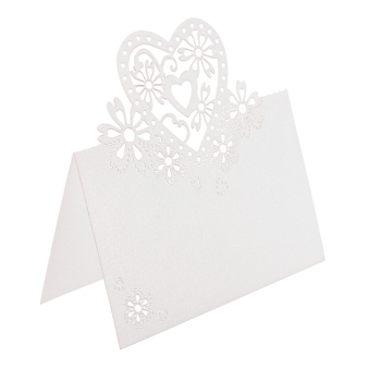 Harga 50pcs Heart Cut Table Lace Place Cards Name Number Wedding Party Decoration