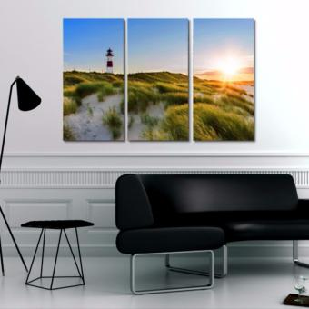 Harga Easy Art Triptych 3-piece Lighthouse Sunset Premium Canvas Art
