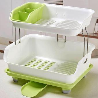 Harga New 2017 Best Quality Kitchen Dish Drainer Drying Rack Holder Organizer Tray (Pink)