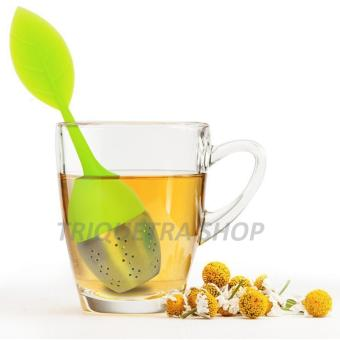 Leaf Shape Silicone and Stainless Tea Infuser Strainer Filter for Loose Tea with Drip Tray (Green) Price Philippines