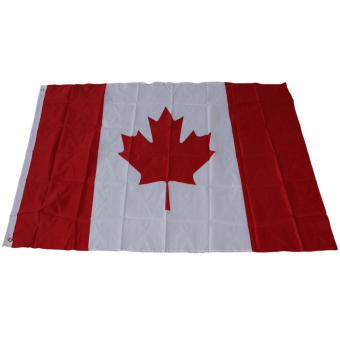 Harga 3ft*5ft Canada Flag Polyester Fabric Flag with Flagpole Casing - intl