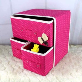Harga GMY Foldable Woven Clothing Storage Box (Pink)