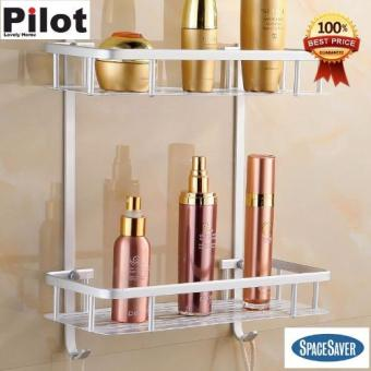 Harga Pilot Lovely Home H-05 Best Gift Aluminum Space Saver Rectangle 2 Layers Face Towel Bath Towel Racks Kitchen Bathroom Multifunction Shelves Best Gift