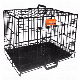 Harga Pet Crates EL-1.5 Foldable Dog Cage w/ Plastic tray (Black)