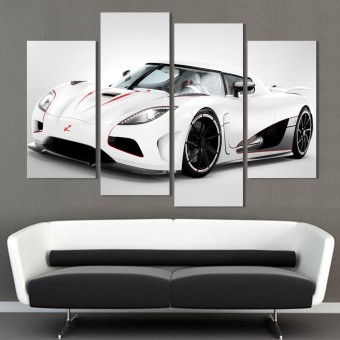 Home Arts 4 Panel White Sports Car Painting Wall Art HD Picture Print on Canvas Gift Painting Home Decor - Intl Price Philippines