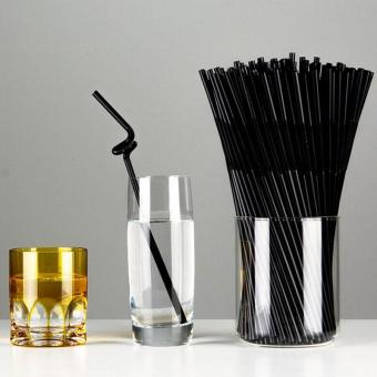 Ai Home 100pcs Flexible Drinking Straws Disposable Bendy Plastic Straw Party Supplies (Black) - Intl Price Philippines