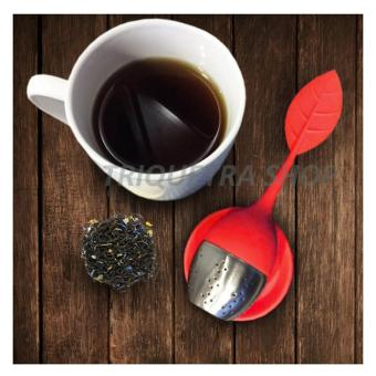 Leaf Shape Silicone and Stainless Tea Infuser Strainer Filter for Loose Tea with Drip Tray (Red) Price Philippines