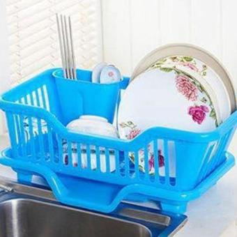 Harga New 2017 Best Quality Kitchen Dish Drainer Drying Rack Holder Organizer Tray (Blue)