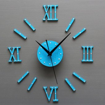 European Style DIY 3D Wall Clock Home Wall Stickers Decoration Art Clock (Blue) Price Philippines