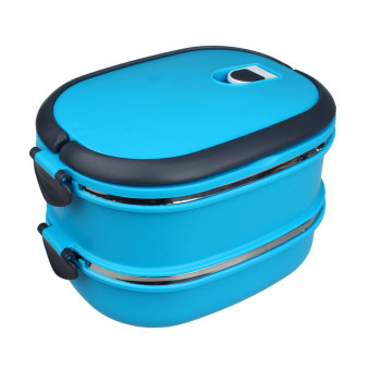 Multilayer Stainless Steel Insulation Lunch Bento Box Food Container Blue - intl Price Philippines
