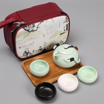 RuYiYu - OutdoorsChina Ceramic Chinese Porcelain Kung Fu Tea Set with Leather Carrying Package/Bag and Bamboo Tray, Ding Klin Ceramic Tea Pot Cover Bowl,Vehicle-mounted Travel Tea Set, Portable Outdoor Travel Tea Tet 6-pack - intl Price Philippines
